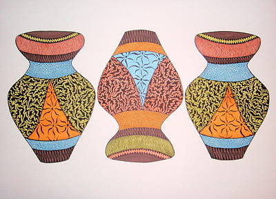 Print featuring the drawing Three Pots by Beth Akerman