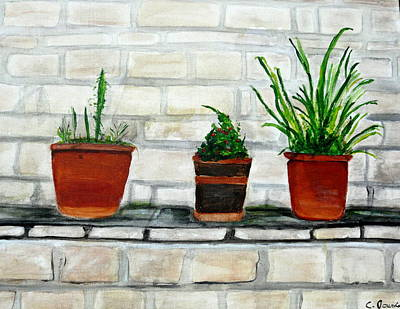 Three Pots Art Print by Cathy Jourdan