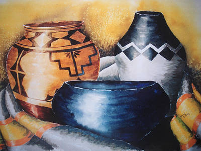 Wall Art - Painting - Three Pots by Cheryl Bishop