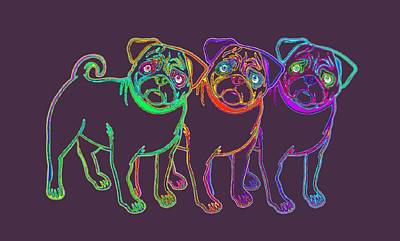 Three Pug Family Art Print by Stephanie Brock