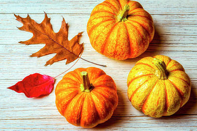 Photograph - Three Pumpkins And Autumn Leaves by Garry Gay