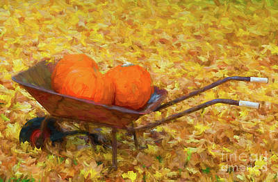 Photograph - Three Pumpkins In A Wheelbarrow - Painterly by Les Palenik