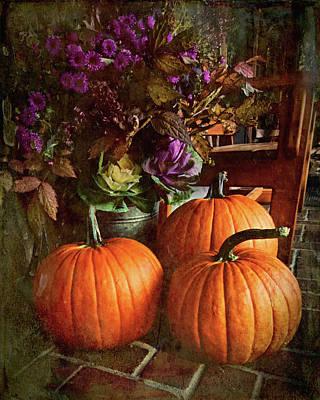 Digital Art - Three Pumpkins by Richard Farrington