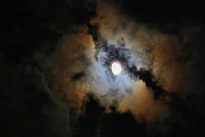 Photograph - Three-quarter Moon In Clouds 1 by Kathryn Meyer