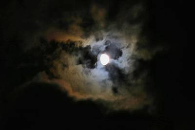 Photograph - Three-quarter Moon In Clouds 2 by Kathryn Meyer