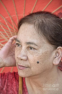 Beauty Mark Photograph - Three Quarter Portrait Of A Freckle Faced Filipina With A Mole On Her Cheek  by Jim Fitzpatrick