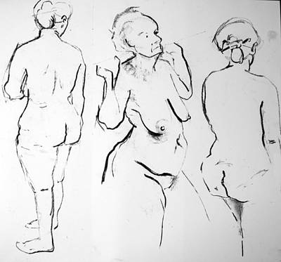 Three Quick Poses Print by Joanne Claxton