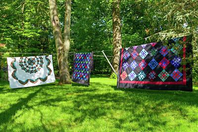 Three Quilts In The Breeze Art Print