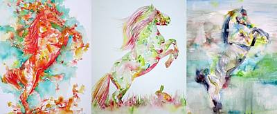 Painting - Three Rearing Stallions by Fabrizio Cassetta