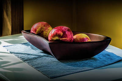 Photograph - Three Red Apples In A Bowl by Randall Nyhof