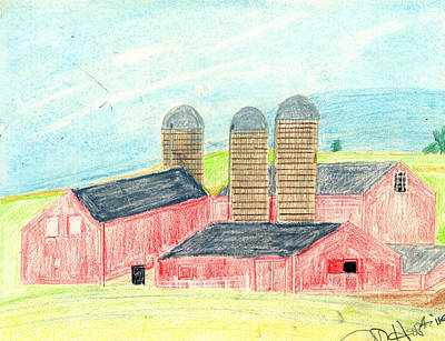 Old Barn Drawing - Three Red Barns by John Hoppy Hopkins