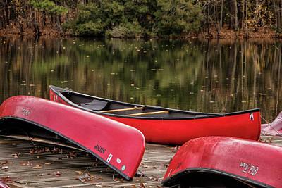 Three Red Canoes Art Print