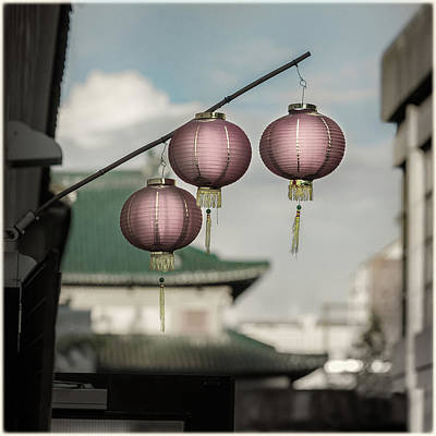 Photograph - Three Red Chinese Lanterns by Peter V Quenter