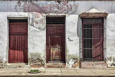 Three Red Doorways Art Print