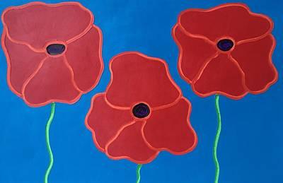 Painting - Three Red Poppies Horizontal by Matthew Brzostoski