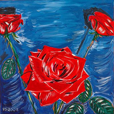 Three Red Roses Four Leaves Art Print by Valerie Ornstein