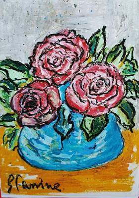 Three Red Roses In The Blue Vase Original