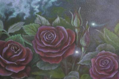 Painting - Three Red Roses by Suzn Art Memorial