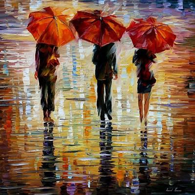 Three Red Umbrella Original by Leonid Afremov