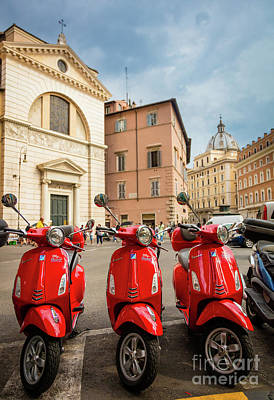 Photograph - Three Red Vespas by Inge Johnsson