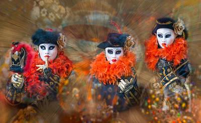 Carnevale Photograph - Three Revelers by Cheryl Schneider