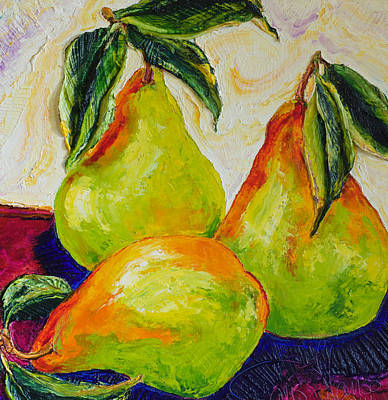 Three Ripe Pears Print by Paris Wyatt Llanso
