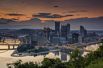 Downtown Pittsburgh Photograph - Three Rivers Sunrise by Rick Berk