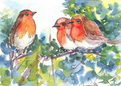 Painting - Three Robins by Asha Sudhaker Shenoy