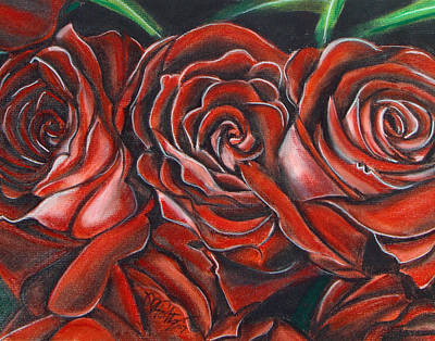 Painting - Three Rose by Michael Foltz