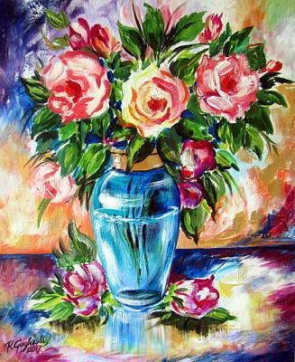 Three Roses In A Glass Vase Original
