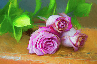 Photograph - Three Roses by Larry Bishop