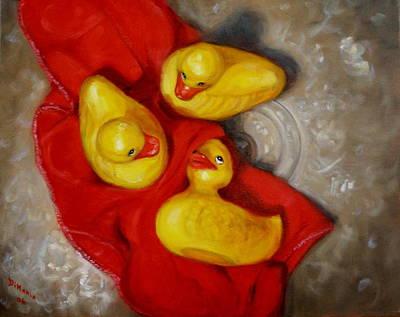 Three Rubber Ducks 2 Art Print by Donelli  DiMaria