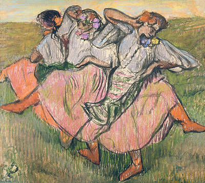 Russian Drawing - Three Russian Dancers by Edgar Degas