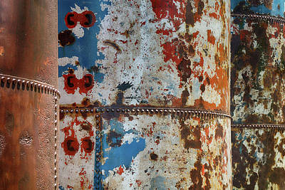 Photograph - Three Rusting Silos by Cate Franklyn