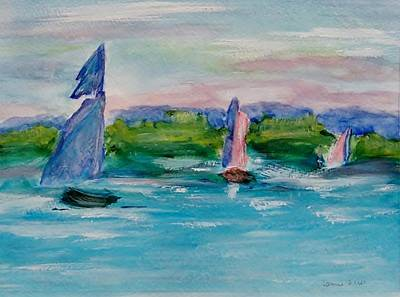 Painting - Three Sailboats by Jamie Frier