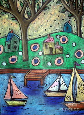 Oil Pastel Pastel - Three Sailboats by Karla Gerard