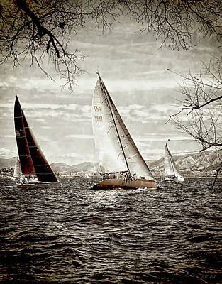 Photograph - Three Sailboats, Nautical Theme by Jean Francois Gil