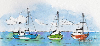 Three Sailboats Near Tahiti Art Print by Pat Katz