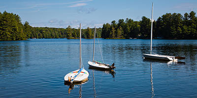 Sailboat Photograph - Three Sailboats On White Lake by David Patterson