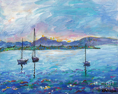 Boating Painting - Three Sailboats by Peggy Johnson
