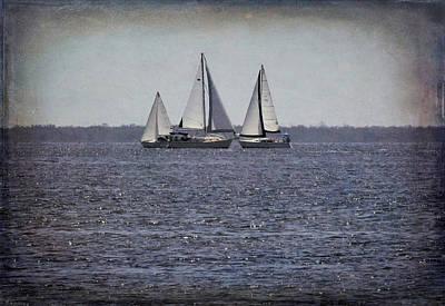 Photograph - Three Sails In Grunge by Rosalie Scanlon