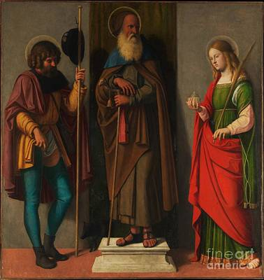 Abbot Painting - Three Saints Roch Anthony Abbot And Lucy by Celestial Images