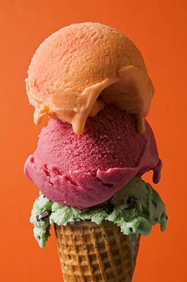 Ice Cream Photograph - Three Scoops  by Garry Gay