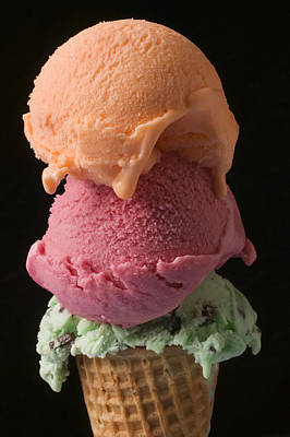 Cone Photograph - Three Scoops Of Ice Cream  by Garry Gay