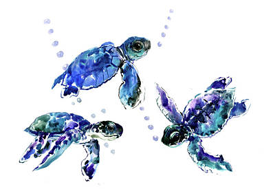 Painting - Three Sea Turtles, Blue, Turquoise, Purple Underwater Scene Turtle Artwork by Suren Nersisyan