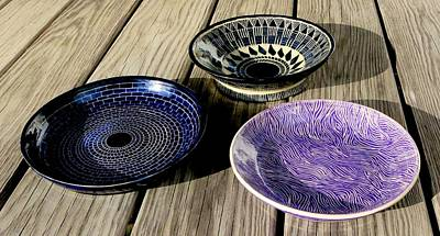 Ceramic Art - Three Sgraffito Bowls by Polly Castor