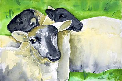 Painting - Three Sheep by Kathleen Barnes