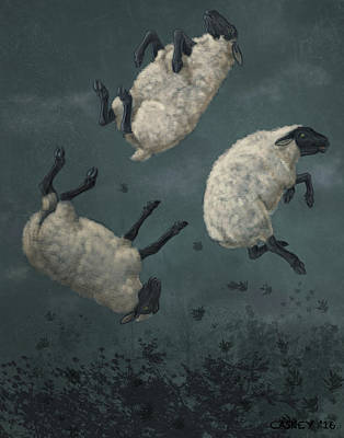 Caskey Wall Art - Painting - Three Sheeps To The Wind by Bethany Caskey