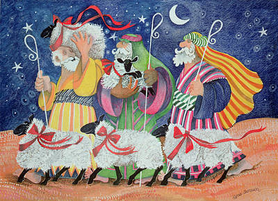 Sheep Painting - Three Shepherds by Lisa Graa Jensen