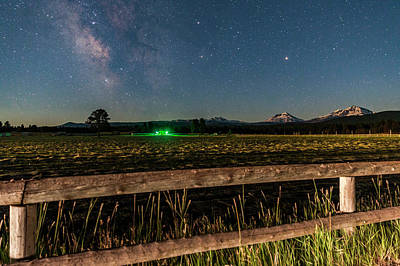 Photograph - Three Sisters And Milky Way At Moonrise by Cat Connor